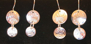 "Dangly Earrings - ERn9 -2 Disc studs from 1/2"" and 7/16"""