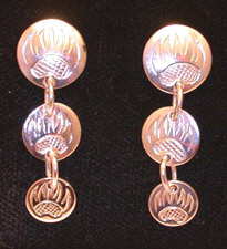 "Dangly Earrings - ERn9 3 Disc studs from 1/2"" and 7/16"""