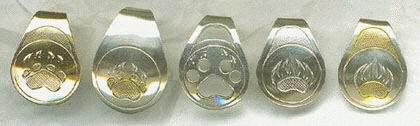 Silver Pendants - Pen3 - Bear & Wolf Paws