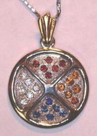 Medicine Wheel Pendants -PenSt13 - 6-2mm stones ieach quadrant, Diamonds, Garnets, Citrine and Sapphires
