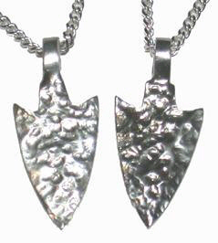 Cast Pendants - PenC8 - Sharp Silver Arrowhead Pendants