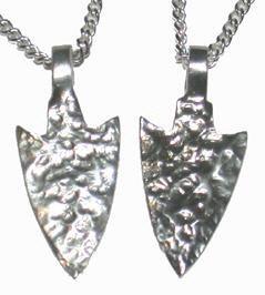 Cast Pendants - PenC8 - Sharp Silver Arrowhead Pendants