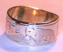 Gold Paws Face Stones Rings - ChSt12 - Grizzlies and fish with 4 - 0.03ct diamonds