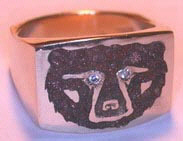 Gem Stone Rings - Cast Bear face with Brown stone chip and diamond eyes