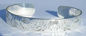 """Silver Bracelets - BS4 3/8"""" Bearclaw on silver cuff bracelet"""