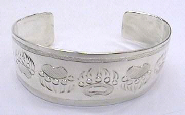 """Silver Bracelets - BS1 - 1"""" Grizzly paws"""