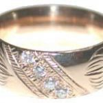 Wedding Rings - ChSt5 b - 8mm Wide bands with 4 - V4 diamonds
