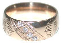 Channel Gem Stone Rings - ChSt5 b - 8mm Wide bands with 4 - V4 diamonds