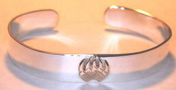 Appliqued-Bracelets - BA2 single 14k gold Grizzly paw appliqued on silver