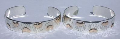 "Appliqued-Bracelets - BA1 Bear Claws in 14k gold on silver - 1/2"" wide"