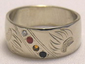 Channel Medicine Wheel Rings - ChSt8 - Bearclaws with Diamond, Carnelion, Citrine and Onyx in white gold