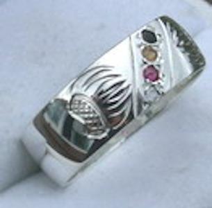 Gem Stone Rings - Channel Set Medicine Wheel Rings