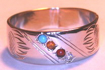 Channel Gem Stone Rings - ChSt16 - Wolf paws with diamond, Carnelian, Citrine and Turquoise, (replacing Onyx)