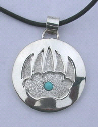 Appliqued Pendants - PenAp13 - Bearclaw applique with Turquoise and stippling