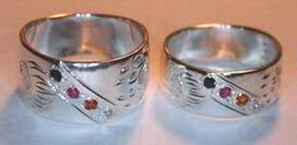 ChSt17c - 10mm and 8mm wide band with channel set Onyx, Carnelion, Citrine and Diamond