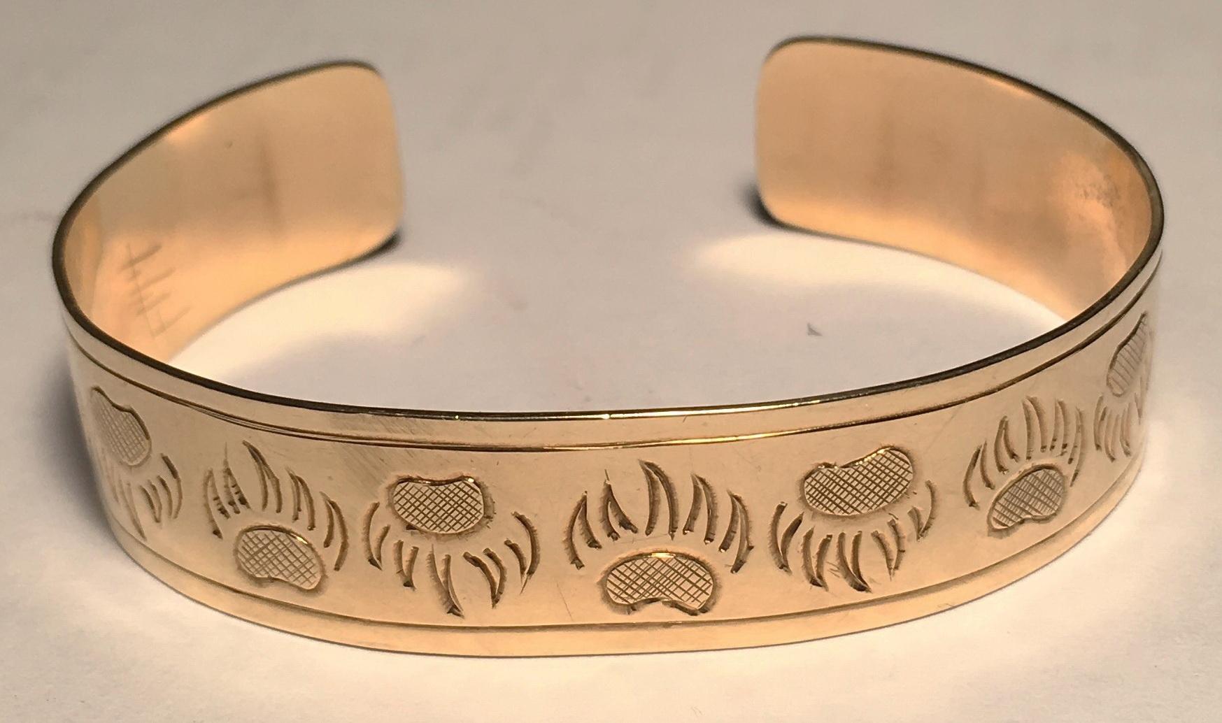 Gold Bracelets cuff bear wolf eagle owl raven medical