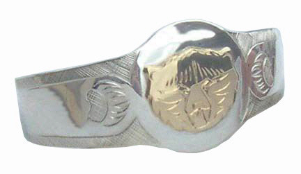 BA4- Oval signet cuff with 14k gold Bear face and engraved Paws