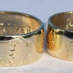 4-Direction Gold Rings - 4drg1e - 14k gold with engraved Buffalo, Cherokee symbol, red tailed Hawk and Wolfhead profile