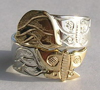 Appliquéd Rings - Rap10 - Butterfly and Roses Wrap-around ring gold on silver