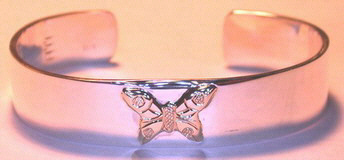 "BA10 Appliqued Butterfly on 1/2"" silver cuff"