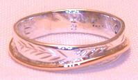 Non-Native Appliqued Rings - NNrAp1 - Thin Band Cedar Bough- gold stem on silver