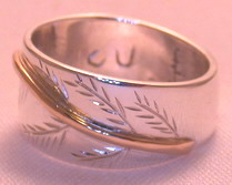 Non-Native Appliqued Rings - NNrAp3 - Wide Band Cedar Bough - gold stem on silver