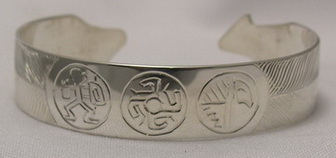 Cherokee Bracelets - ChBs1 Cherokee Symbol Bracelet silver cuff custom warrior journey spiral of life