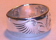 Cherokee Rings - CHr7a - Engraved Cherokee symbol with Eagle heads and .02ct diamond Eyes
