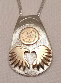 Appliqued Pendants - PenAp26 Cherokee Symbol with 2 eagle heads gold on silver