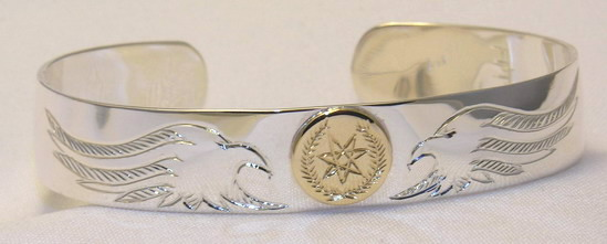 Cherokee Bracelets - ChB4 Eagle Heads and gold disc Cherokee Symbol