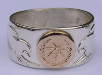 Cherokee Rings - CHr1 - Cherokee Symbol in Gold on silver with Eagle heads