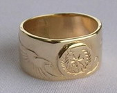 Cherokee Rings - CHr1 - Cherokee Symbol in Gold with Eagle heads