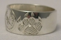 Silver Rings - Paw - Animal -Face Motif - Cherokee Grizzly Wolf Paws in Silver