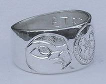 Cherokee Rings - CHr6 - Cherokee and Hawks Heads in Silver
