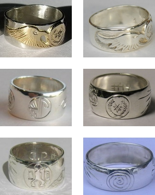 Cherokee Rings Warrior Journey Spiral of life silver and gold