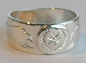 Cherokee Rings - CHr1 - Cherokee Symbol in Silver on silver with Eagle heads