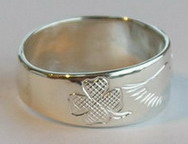 Cherokee Rings - Cherokee Symbol with Eagle and Shamrock silver on silver