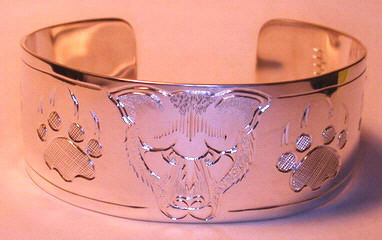 Silver Bracelets - BS3 - Cougar Face and Paws