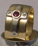 Non-Native Rings Stones - NNrcSt gold on gold cross with 3mm Ruby and 4 - .02ct diamonds
