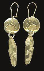 Feather Earrings - ERn5- Feather and Bearclaw Disc