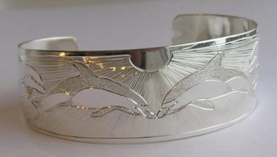"Silver Bracelets - BS22 - 1"" wide Dolphins Dancing"
