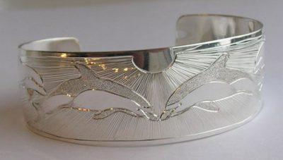 "Silver Bracelets - BS22 - 1"" wide Dolphins Dancing"