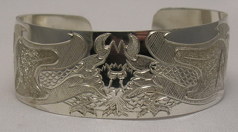 "Non-Native Bracelets - NNb17 - Single Dragon on 1"" silver bracelet"