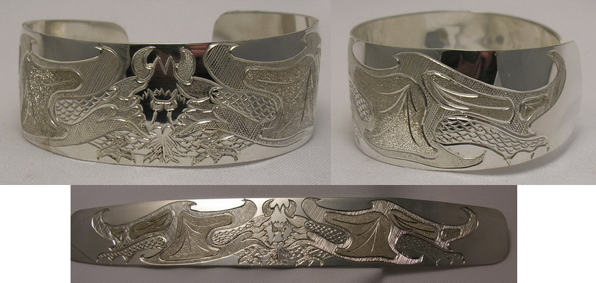 custom native jewelry Non-Native art kanji Chinese symbols art Dragons Hand engraved in silver