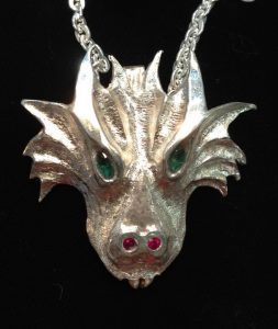 Cast Pendants - PenC24 - Dragon Head and Emerald eyes Ruby flames