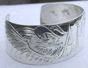 """Silver Bracelets - NNb3- Dragons and Initials on 1"""" silver cuff"""