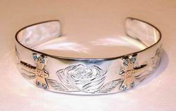 Gems-Bracelets - BSt5 - Roses and Dragonflys with Topaz