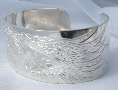 "Non-Native Bracelets - NNb3 - 2 Dragons in silver - 1-1/2"" wide cuff"