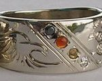 Wedding Rings - ChSt9d - Medicine Wheel and eagle head Channel with Black diamond, , Citrine, Carnelian and diamond