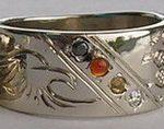 Wedding Rings - ChSt9d - Medicine Wheel and eagle head Channel with Black diamond, , Citrine, Carnelian and diamond
